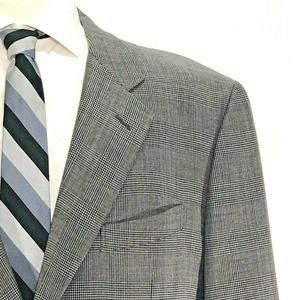 Corneliani Grey Glen Plaid 2-Button Sport Coat 46R